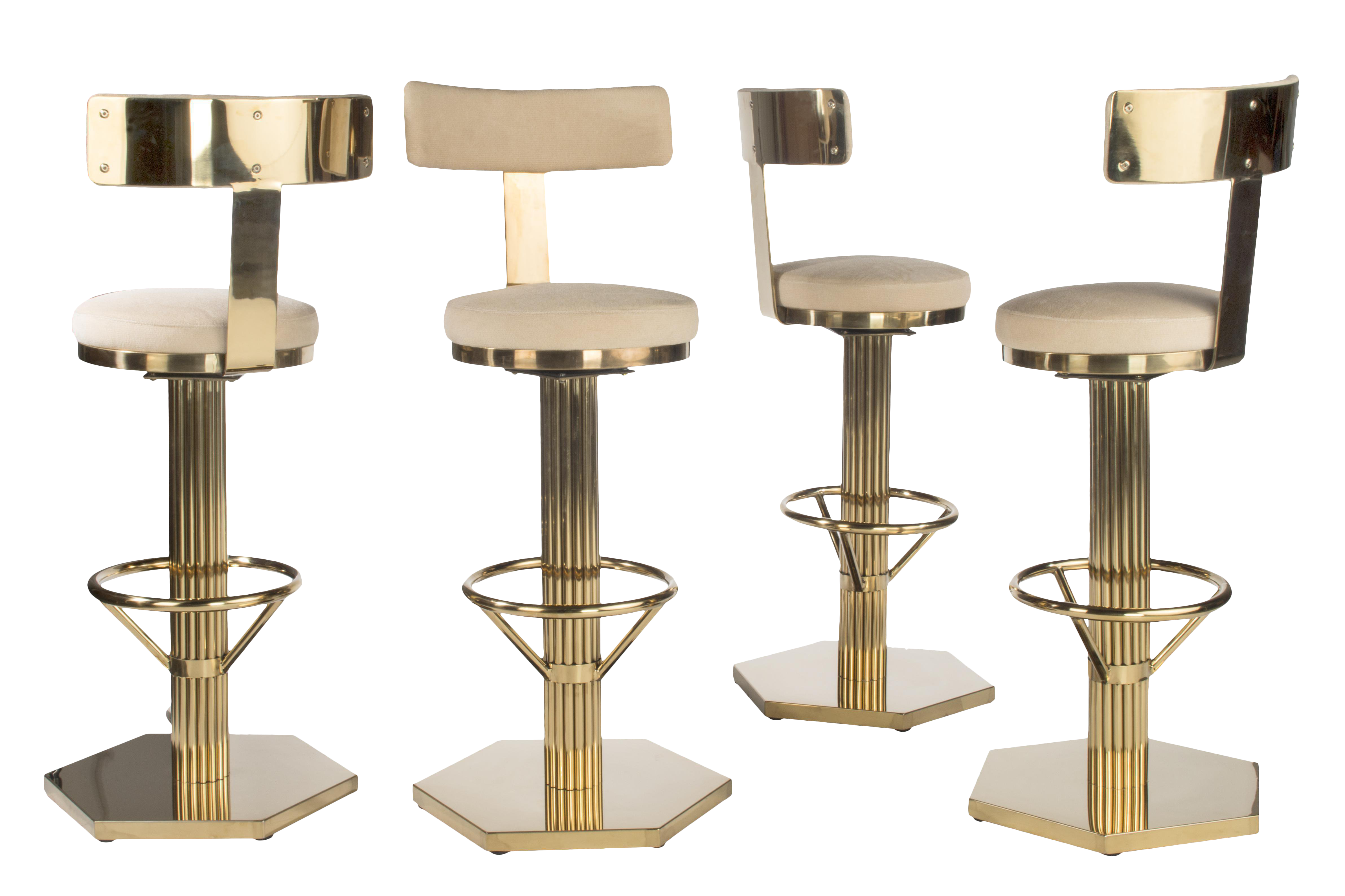 Hollywood Regency Gold Bar Chairs With Cream Linen Seat   Set Of 4 For Sale