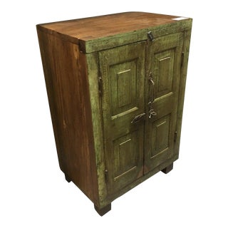 Rustic Small Green Bedside Cabinet For Sale