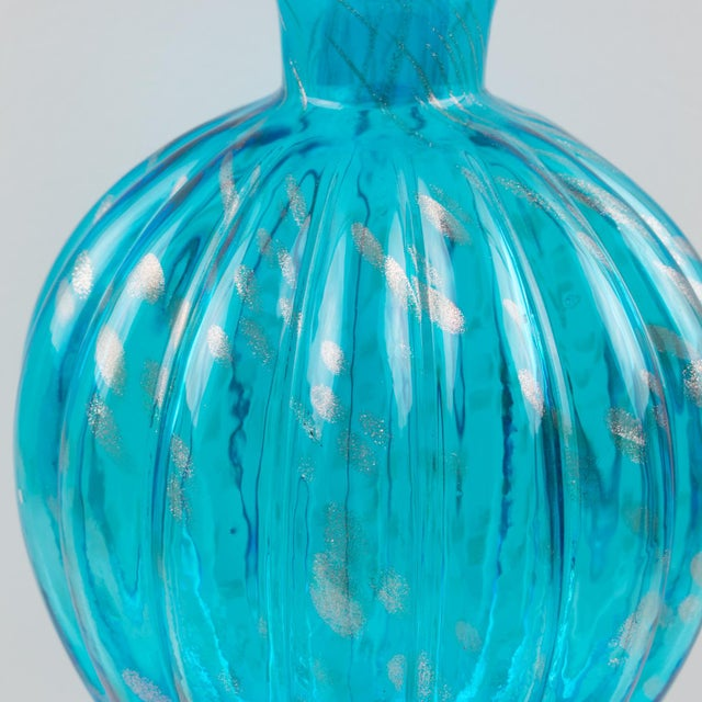 Italian Empoli Hand Blown Turquoise Glass Lidded Apothecary Jar Dispenser For Sale - Image 9 of 13