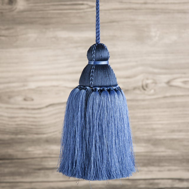 Traditional Navy & French Blue Tassel, Medium For Sale - Image 3 of 3