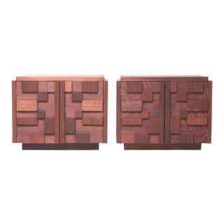 Lane Brutalist Walnut Nightstands - A Pair For Sale
