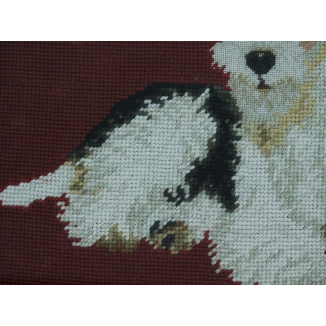 Antique Black Forest Framed English Terrier Dog Needlepoint - Image 6 of 7