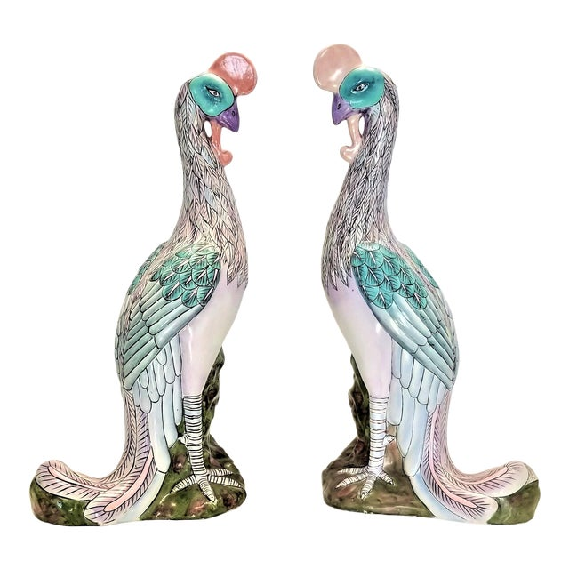 Phoenix Bird Statues - Super Large 17 Inches - Feng Shui - Asian Palm Beach Boho Chic Animals Tropical Coastal For Sale