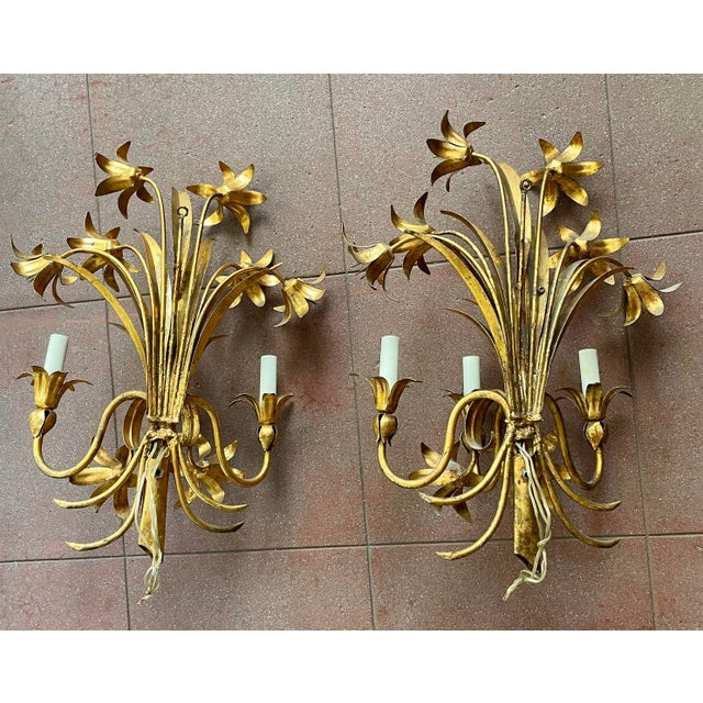 Italian Mid Century Hollywood Regency Gilt Toleware Floral Sconces - a Pair For Sale - Image 10 of 13