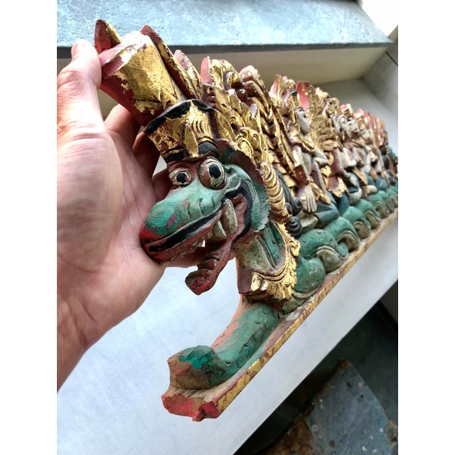 Religious Vintage Indonesian Hand-Carved Gold Paint Religious Festival Sculpture For Sale - Image 3 of 4