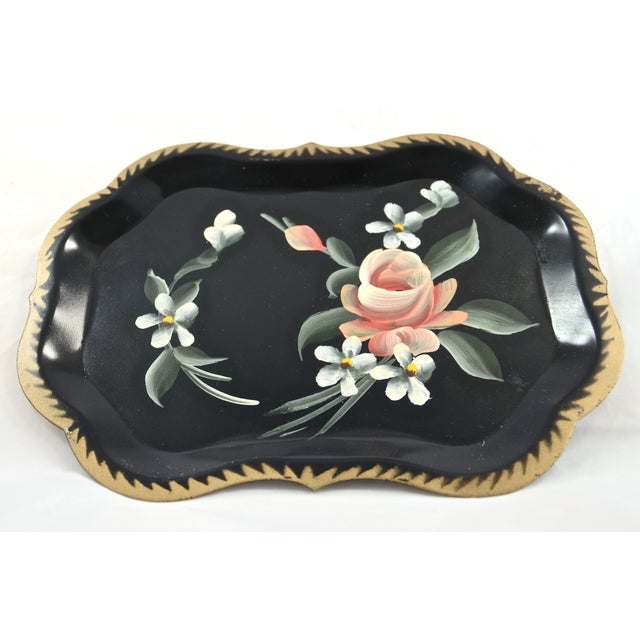 Hand-Painted Tole Trays - Set of 6 For Sale - Image 4 of 5