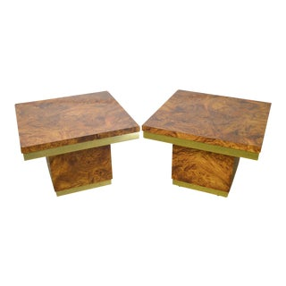 Mid Century Modern Square Faux Burl Wood & Brass End Tables - a Pair