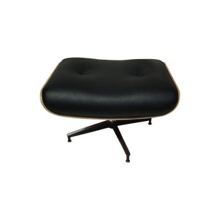 New Eames Style Black Leather Ottoman For Sale
