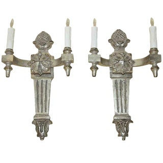1990s Neoclassical Paul Ferrante Silver Gilt Carved Wall Sconces - a Pair For Sale