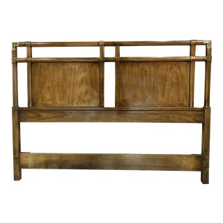 Vintage Walnut and Brass Campaign Headboard by Drexel Queen Size For Sale
