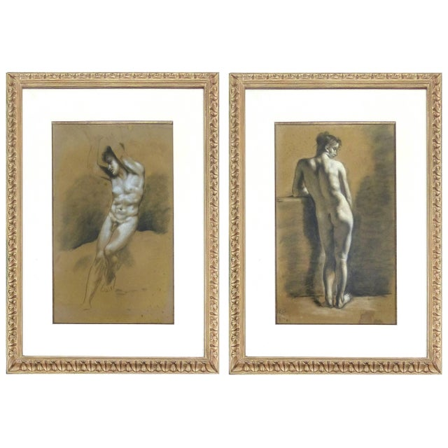 Drawings of Male Nude Figures Attributed to Francois Boucher, Circa 1750 - a Pair For Sale - Image 11 of 11
