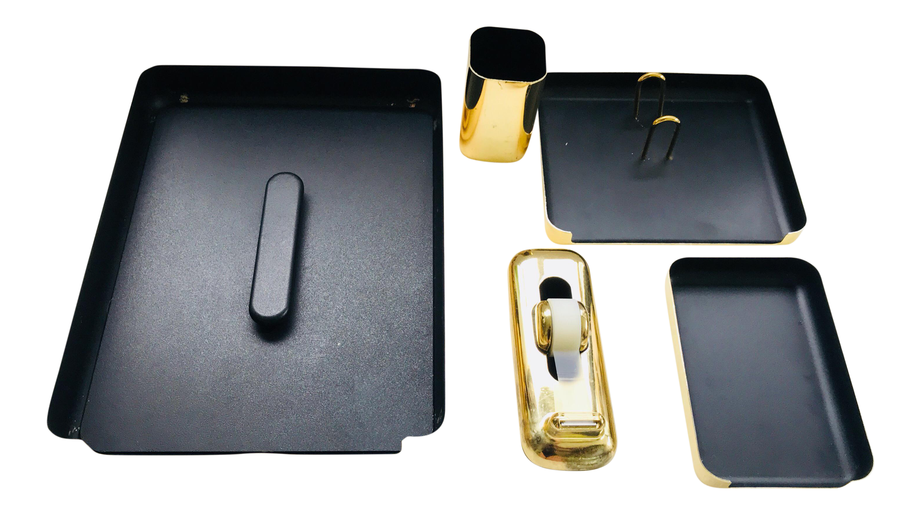Vintage Eldon Emphasis 6000 Brass 1984 Carson California   Office Desk  Accessories   Set Of 5