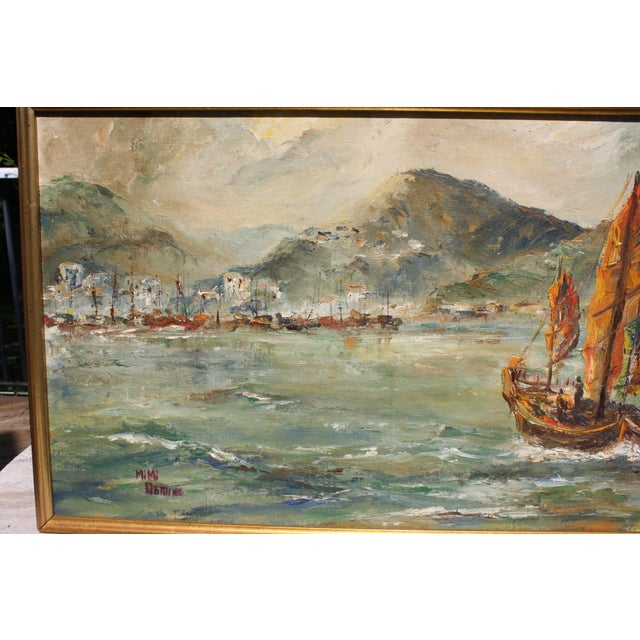 "1960s Mid-Century Oil on Board Titled ""Hong Kong"" Depicting Junk Boat Harbour Scene For Sale - Image 5 of 12"