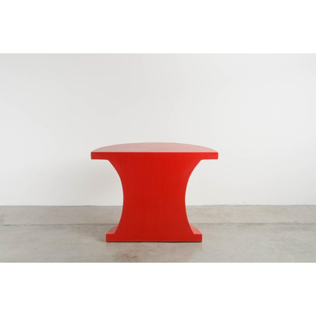 Robert Kuo Diva Half Round Table - Red Lacquer by Robert Kuo, Limited Edition For Sale - Image 4 of 7