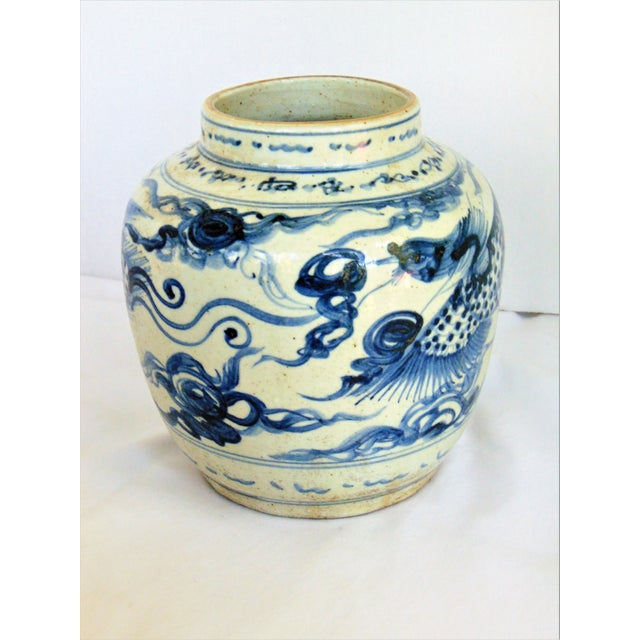 "A lovely hand painted blue and white phoenix design storage jar that is 6.5"" in diameter and 7"" high. It is a great piece..."