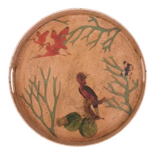 Chinoiserie Round Serving Tray For Sale