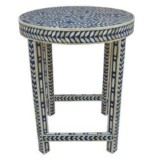Boho Chic Bone Inlay Indigo Floral Centre Table For Sale