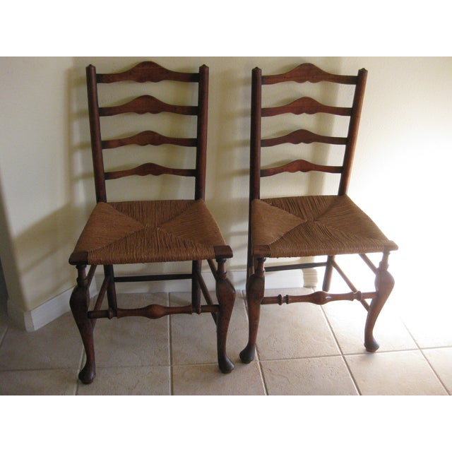 Country Antique English Ladderback Chairs - Pair For Sale - Image 3 of 7