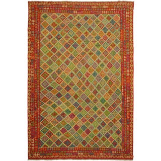 Allena Rust/Ivory Hand-Woven Kilim Wool Rug -8'6 X 11'5 For Sale