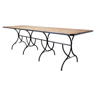 French Industrial Style Cast Iron Harvest Dining Table For Sale