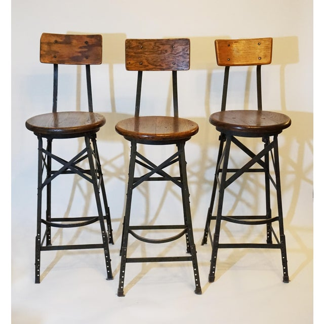 1900s 1900s Vintage Industrial Bar Stools- Set of 3 For Sale - Image 5 of 5