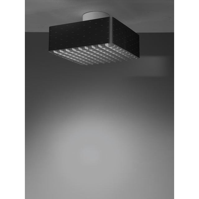 Mid-Century Modern Paavo Tynell square black flush mount for Idman, Finland, 1950s For Sale - Image 3 of 3