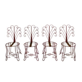 1930's Vintage French Iron Garden Chairs- Set of 4 For Sale