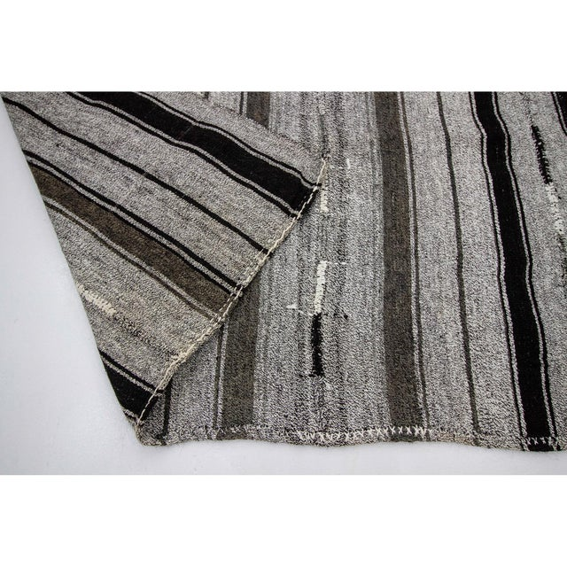 1960s 1960s Vintage Striped Gray Kilim Rug- 7′2″ × 9′ For Sale - Image 5 of 7