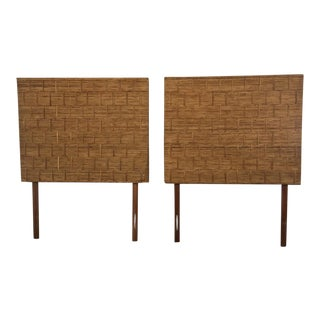 Vintage Pencil Rattan Woven Full Headboards - A Pair
