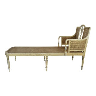 1905 Neoclassical Adams Painted Caned Chaise For Sale