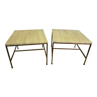 1950s Travertine Marble Top Brass End Tables by Paul McCobb - a Pair For Sale