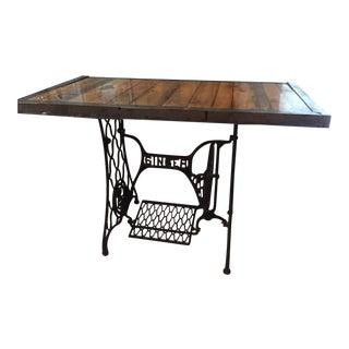 Industrial Singer Sewing Stand End Table For Sale