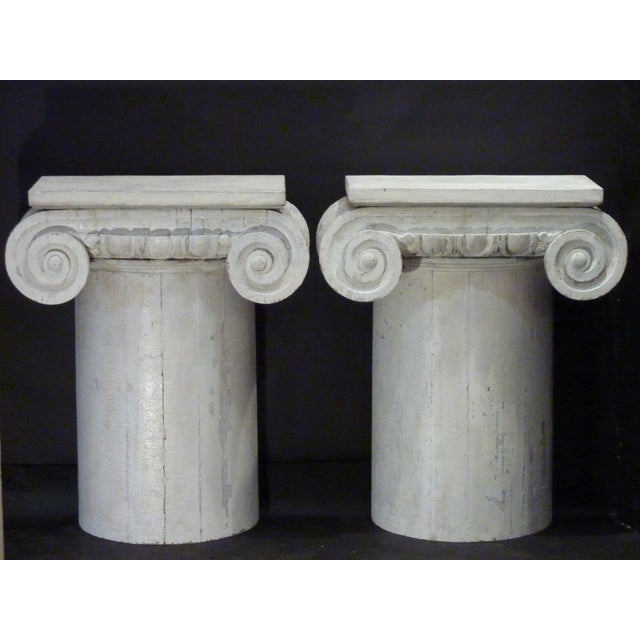 Neoclassical style made from old columns with carved wood capitals, aged whitewashed finish, attach to wall, priced for...