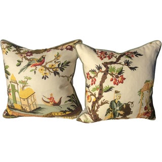 Brunschwig & Fils Le Lac in Cream Down Filled Pillows - a Pair For Sale