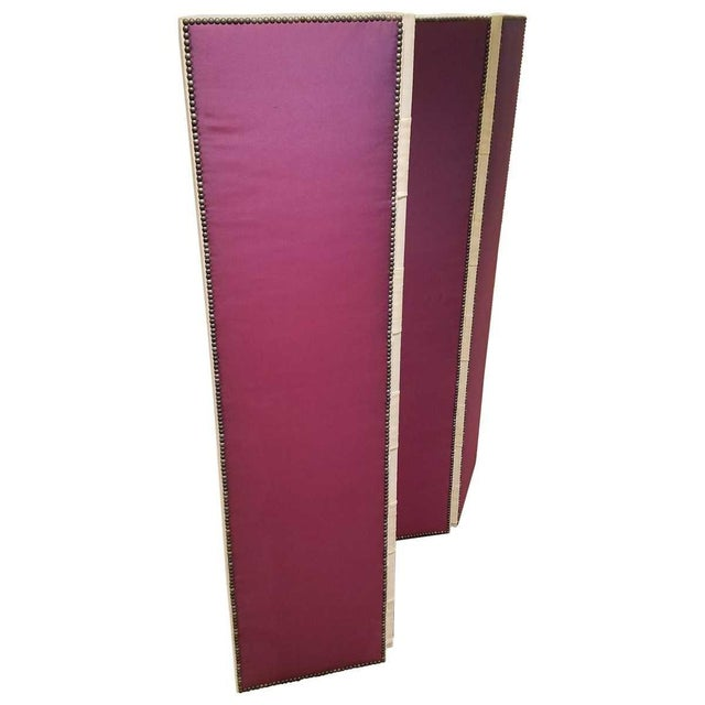 John Saladino Four-Panel Fabric Folding Screen With Nailhead Detail For Sale - Image 4 of 8