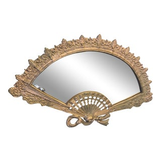 Victorian Gold Fan Mirror With Stand For Sale