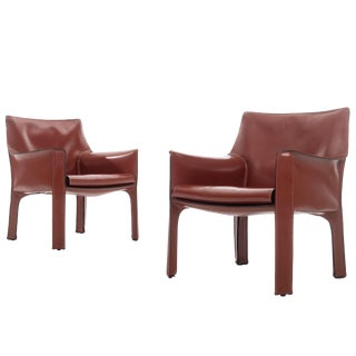 Pair of Mario Bellini Cab Lounge Chairs For Sale