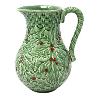 Vintage Christmas Holly Pitcher by Bordallo Pinheiro Portugal For Sale