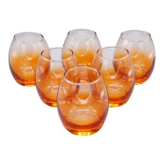 1970s Mid-Century Lowball Glasses With Orange Shade - Set of 6 For Sale