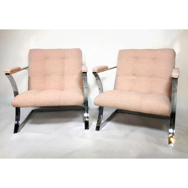 Milo Baughman for Carson's Pair of Mid Century Cubist Floating Sling Chairs. Chrome frames float newly upholstered...