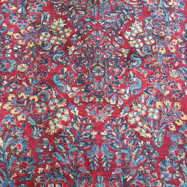 """Blue Antique Red & Blue Persian Sarouk Rug - 10'4"""" x 20'6"""" For Sale - Image 8 of 8"""
