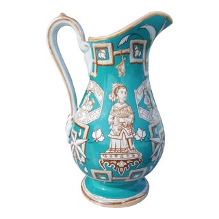 Amazing 19th C. Chinese Export Pitcher in Tiffany Blue - for the English Market For Sale