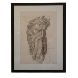 1940s Vintage Emery Signed Charcoal Drawing For Sale