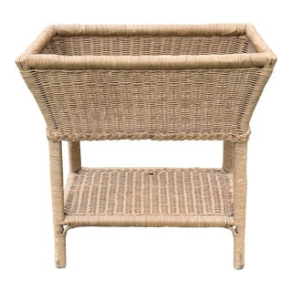 Late 20th Century Wicker Rattan Planter For Sale