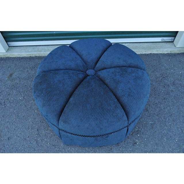 Hollywood Regency Style Large Century Blue Tufted Ottoman Coffee Table Stool - Image 3 of 11