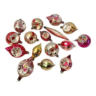 Vintage Mid Century Glass Ornaments Set of 16 For Sale