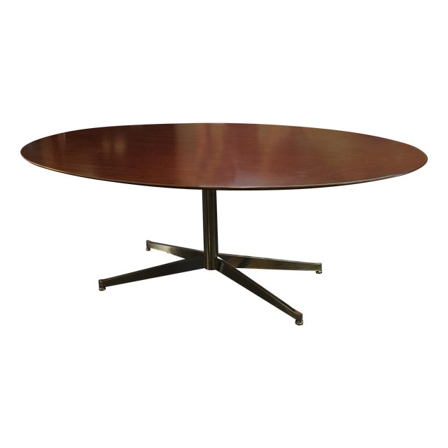 Florence Knoll Oval Solid Walnut Table - Image 1 of 8