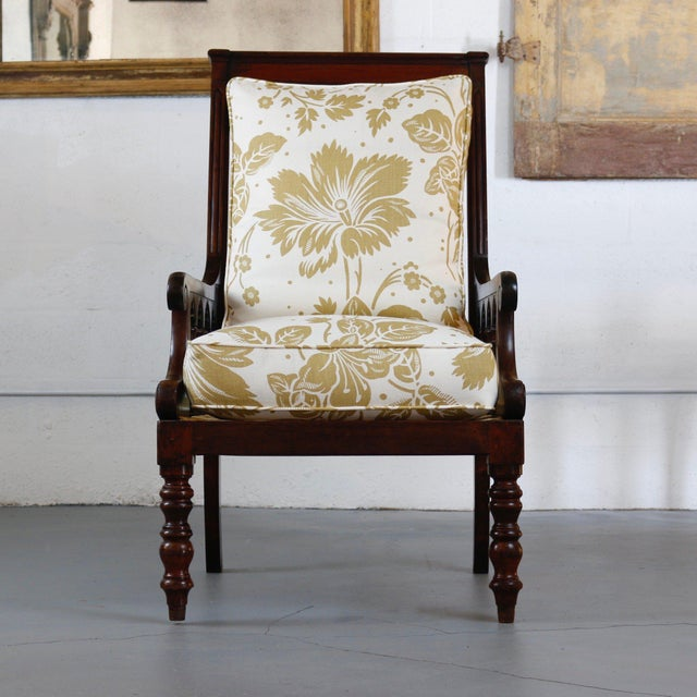 Handsome pair of Jacobean gothic back armchairs. 19th Century English with newly upholstered loose cushions in cream and...