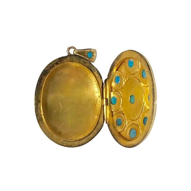 Victorian 18k Gold & Turquoise & Diamond Locket For Sale - Image 4 of 5