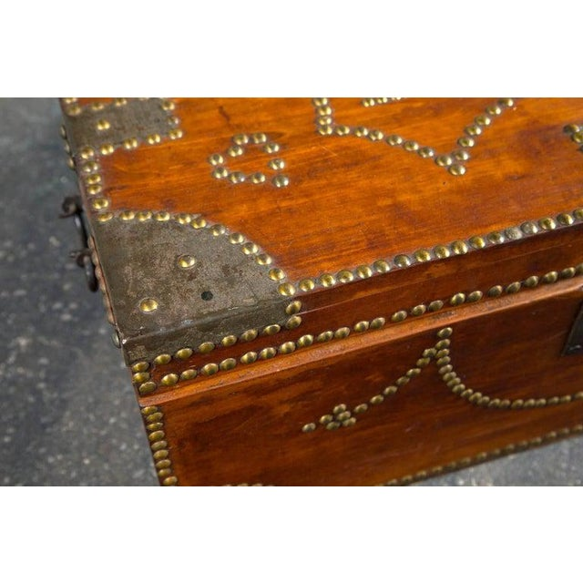 Folk Art 19th Century Tack Decorated Trunk For Sale - Image 3 of 8